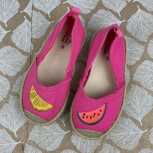 baby Gap Espadrille Flats Pink Watermelon Lemon